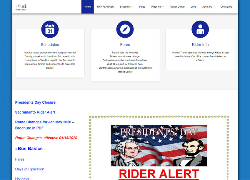 Amador Transit Website
